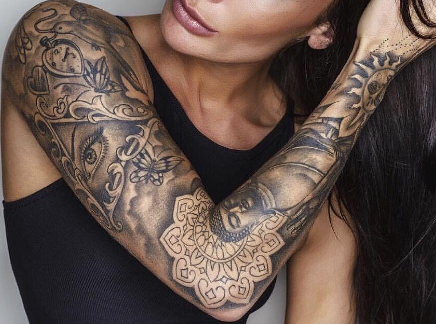 tatouage avant bras femme bouddha