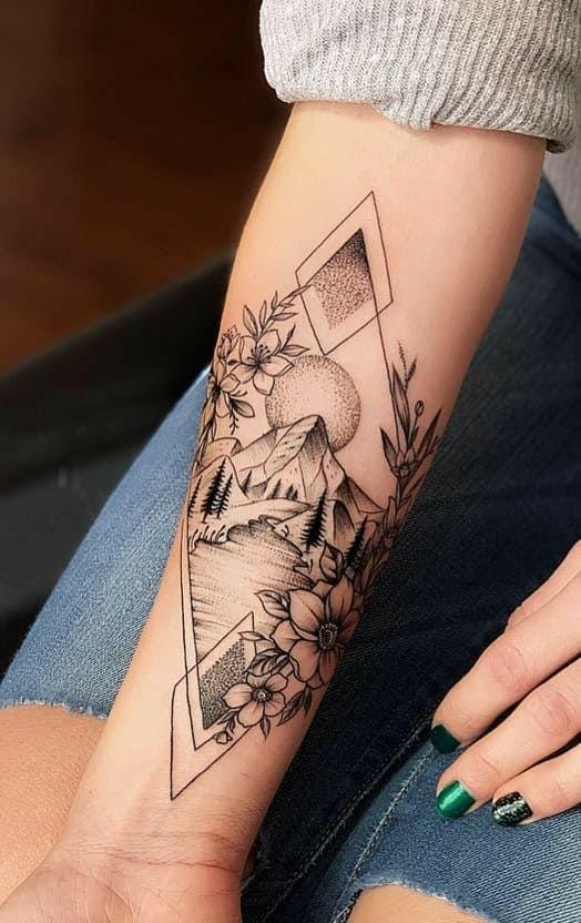 tatouage avant bras femme paysage